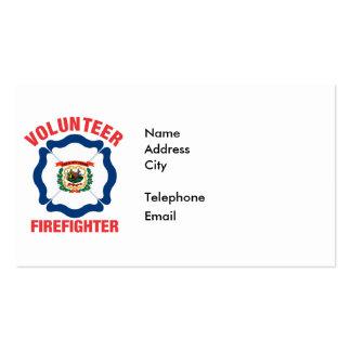 West Virginia Flag Volunteer Firefighter Cross Business Cards