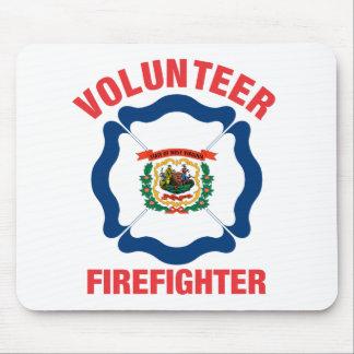 West Virginia Flag Volunteer Firefighter Cross Mouse Pad