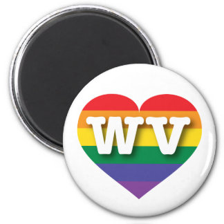 West Virginia Gay Pride Rainbow Heart - Big Love Magnet
