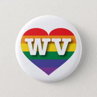West Virginia Gay Pride Rainbow Heart - Big Love Pinback Button