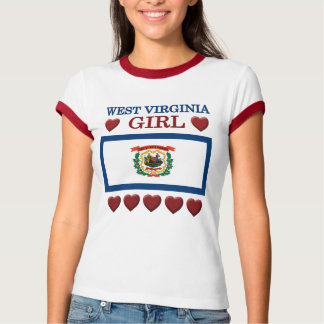 West Virginia Girl Hearts State Flag  T-shirt