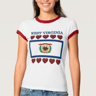 West Virginia Hearts State Flag  T-shirt