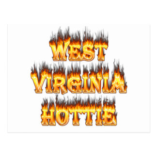 West Virginia Hottie fire and flames Postcard