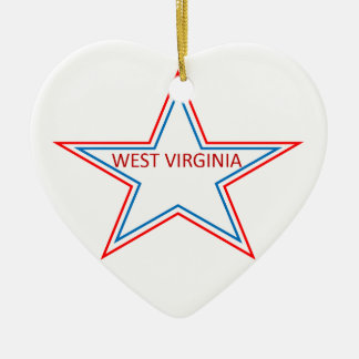 West Virginia in a star. Ceramic Ornament