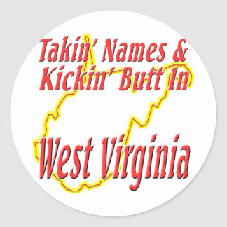West Virginia - Kickin' Butt Classic Round Sticker