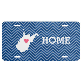 West Virginia Map Home State Love - Optional Heart License Plate