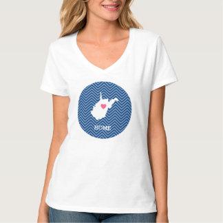 West Virginia Map Home State Love - Optional Heart Shirt