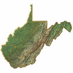 """West Virginia Map Keychain Cut Out<br><div class=""""desc"""">This key-chain,  shaped like the state of West Virginia,  displays a relief map of the state surrounded by a gold effect border. An attractive token of West Virginian memories.  Map derived from images at nationalatlas.gov.</div>"""