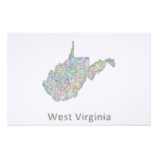 West Virginia map Stationery