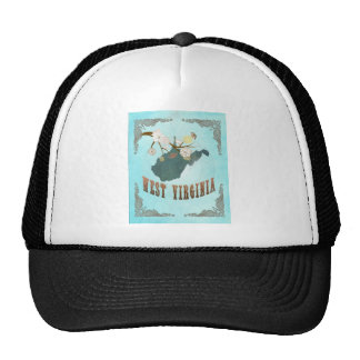 West Virginia Map With Lovely Birds Trucker Hat
