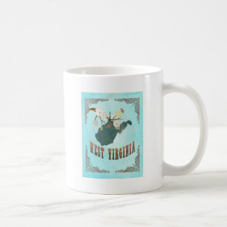 West Virginia Map With Lovely Birds Classic White Coffee Mug