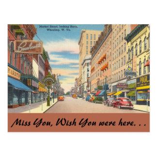 West Virginia, Market Street, Wheeling Postcard