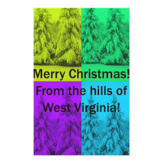 West Virginia Merry Christmas Tree Collage Stationery