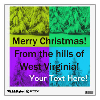 West Virginia Merry Christmas Tree Collage Wall Graphic