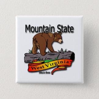 West Virginia Mountain State Black Bear Button
