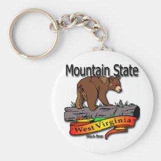 West Virginia Mountain State Black Bear Keychain