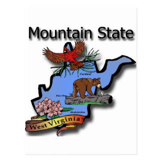 West Virginia Mountain State Cardinal Bear Rhodode Postcard