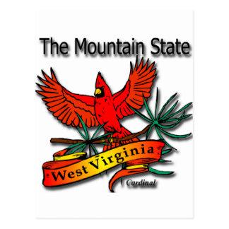 West Virginia Mountain State Cardinal Postcard