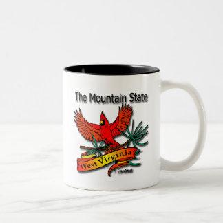 West Virginia Mountain State Cardinal Two-Tone Coffee Mug