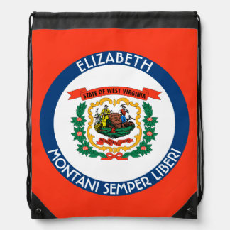 West Virginia Mountain State Personalized Flag Drawstring Bag