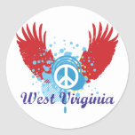 West Virginia Peace Sign Classic Round Sticker