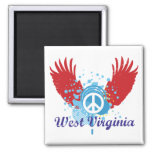 West Virginia Peace Sign Refrigerator Magnet
