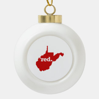 WEST VIRGINIA RED STATE CERAMIC BALL CHRISTMAS ORNAMENT