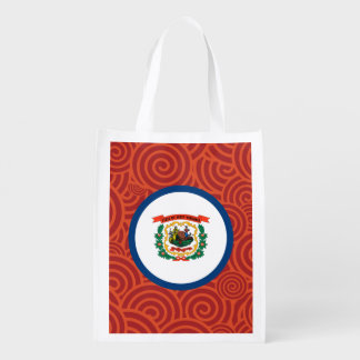 West Virginia round flag Reusable Grocery Bag