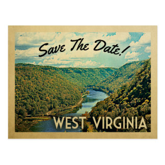 West Virginia Save The Date River Nature Vintage Postcard