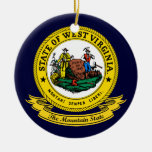 West Virginia Seal Double-Sided Ceramic Round Christmas Ornament
