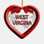 West Virginia Snowflake Heart Christmas Ornament