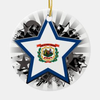 West Virginia Star Ceramic Ornament