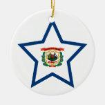West+Virginia Star Christmas Tree Ornaments