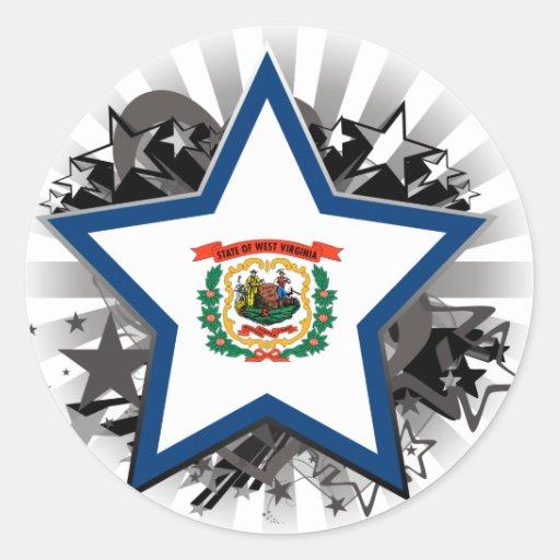 West Virginia Star Round Stickers