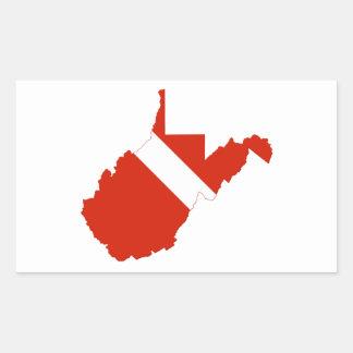 West Virginia State Dive Flag Rectangular Sticker