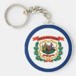 West Virginia State Flag Basic Round Button Keychain