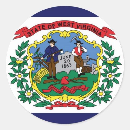 West Virginia State Flag Classic Round Sticker