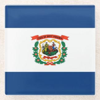 West Virginia State Flag Design Decor Glass Coaster