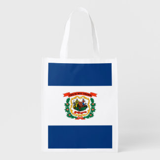 West Virginia State Flag Design Reusable Grocery Bag