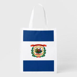 West Virginia State Flag Design Reusable Grocery Bag