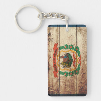 West Virginia State Flag on Old Wood Grain Keychain