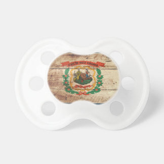 West Virginia State Flag on Old Wood Grain Pacifier