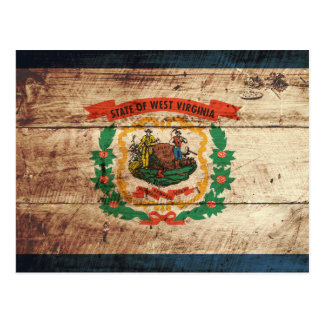 West Virginia State Flag on Old Wood Grain Postcard