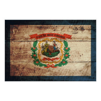 West Virginia State Flag on Old Wood Grain Poster
