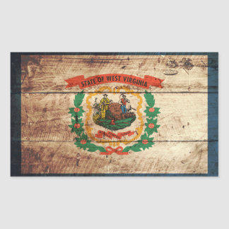 West Virginia State Flag on Old Wood Grain Rectangular Sticker