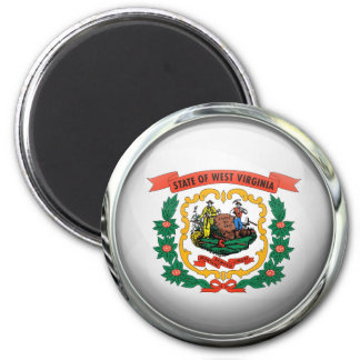West Virginia State Flag Round Glass Ball 2 Inch Round Magnet