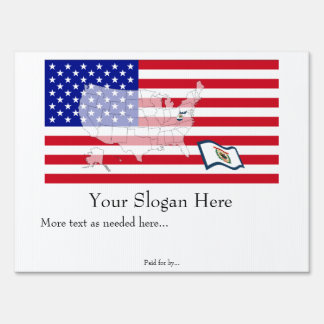 West Virginia State Flag USA Map Vote yard sign