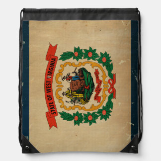 West Virginia State Flag VINTAGE Drawstring Backpacks