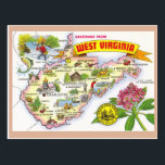 "West Virginia State Map Postcard<br><div class=""desc"">West Virginia State Map Postcard</div>"