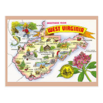 West Virginia State Map Postcard